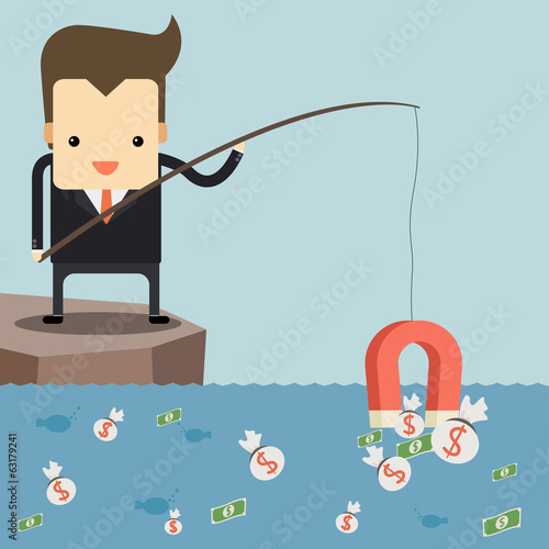Businessman fishing money by magnet