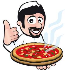 Pizzabäcker mit Daumen hoch hält Pizza