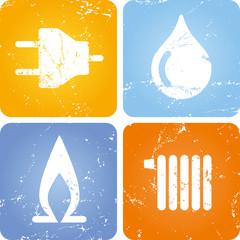 grunge Icons Strom Gas Wasser Wärme