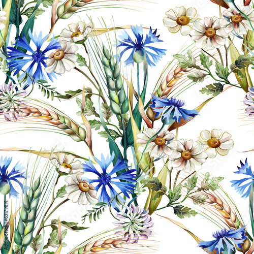 Summer Field Seamless Pattern - 63179891