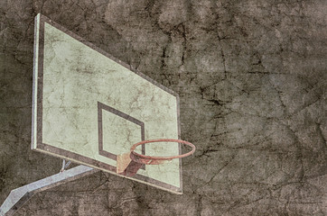 Basketball hoop overlaid with grunge texture.