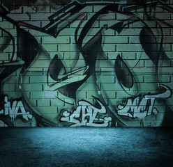 Street art graffiti wall background, urban grunge design.