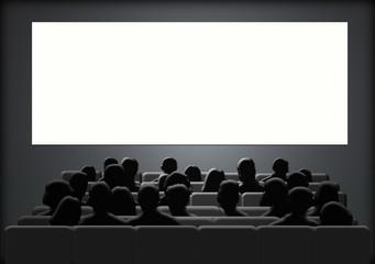 Cine, espectadores, pantalla, ilustración, butacas