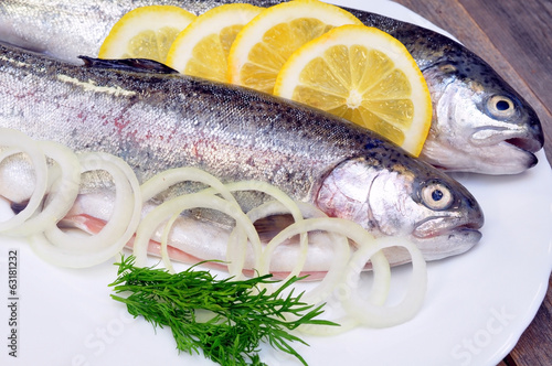 two fresh trout and lemon