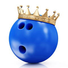 Golden Crown on Bowling Ball isolated on white. Bowling King