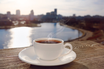 morning coffee with city view