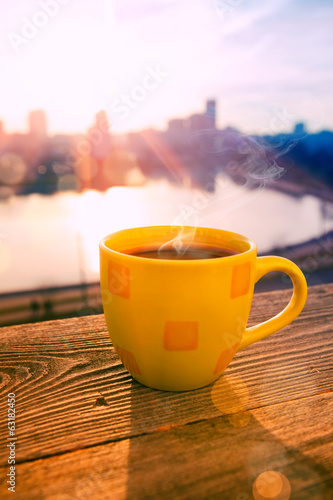 morning coffee in sunrise
