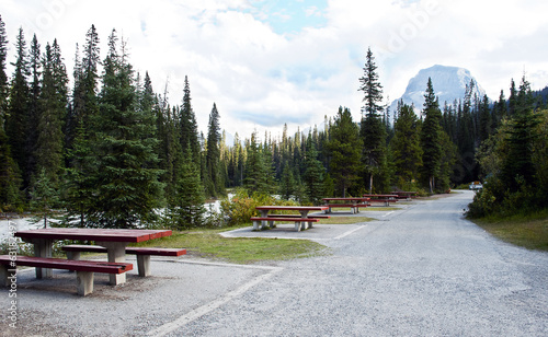 Picnic tables  by the river