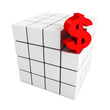 Red dollar currency symbol as part of block structure