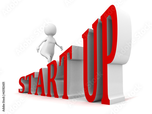 START UP business concept text ladder walking 3d businessman