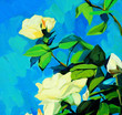 bush of white roses, painting by oil on canvas