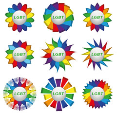 Set of rainbow icons with text lgbt