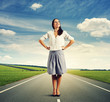woman standing on the road at outdoor