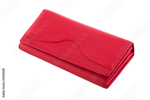 Red woman wallet isolated on white