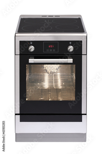 Induction stainless steel stove isolated on white background