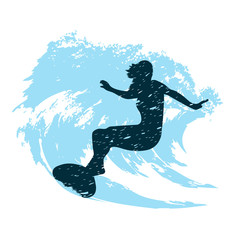 silhouette of a surfer in grunge style splashes