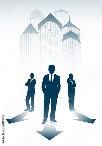 silhouette of businessmen on an abstract background of the city