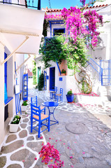 Beautiful streets of Skiathos island, Greece