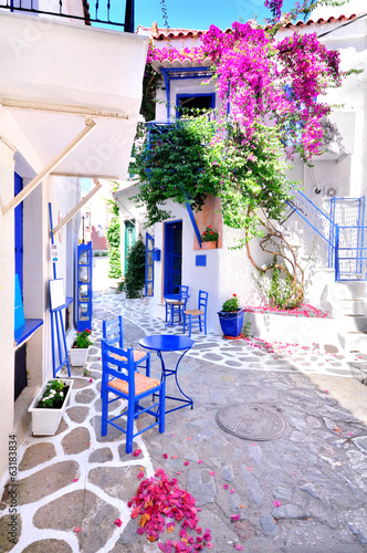 Fototapety, obrazy : Beautiful streets of Skiathos island, Greece