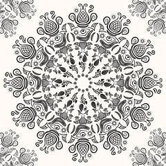 Vintage Black White Lacy Decoration Pattern