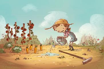 niña en el campo