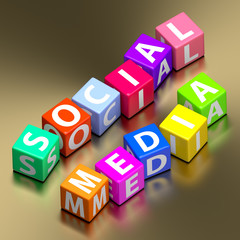 Social media words on colorful toy blocks
