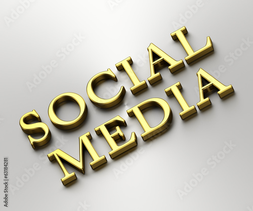 Social media concept - Social media words made from gold