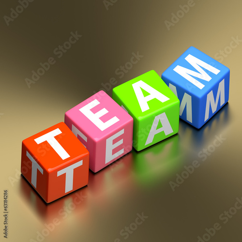 Teamwork concept - team word on colorful toy blocks