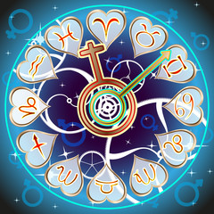 background vector: zodiac signs in the form of hours