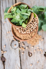 Coriander in small Bowls