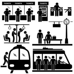 Train Commuter Station Subway Man People Passengers
