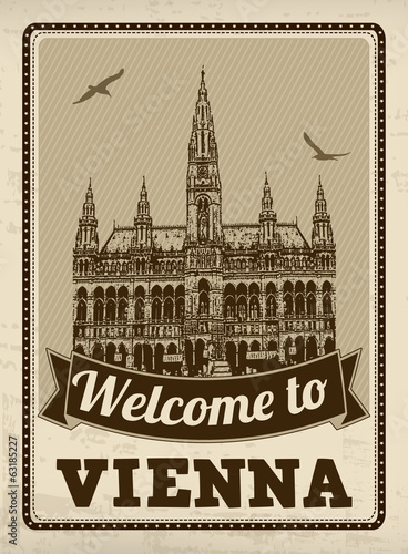 Welcome to Vienna retro poster