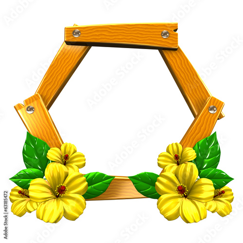Wood Frame With Yellow Hibiscuses