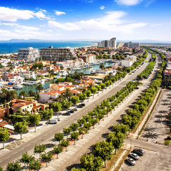 Panoramic view of Empuriabrava (Costa Brava), Catalonia, Spain