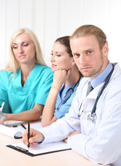 Medical team during meeting in office