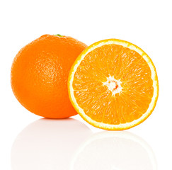 Orange fruit and his slices isolated