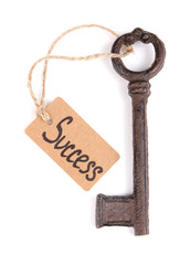 Key to success, Conceptual photo. Isolated on white