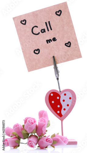Message holder isolated on white