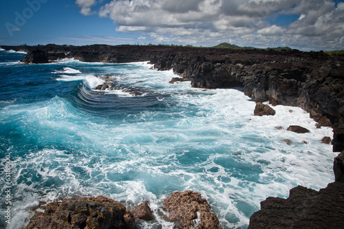 Hawaii Volcanic Rocky Coast Rough Ocean Waves