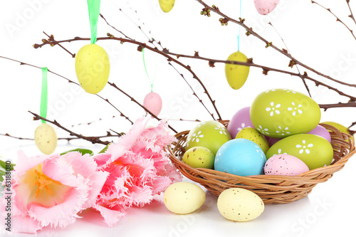 Easter composition with eggs branches close up