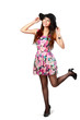 Happy and joy beautiful asian girl in fashion stylish dress