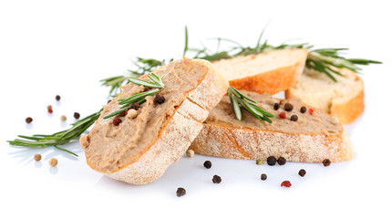Fresh pate with bread isolated on white