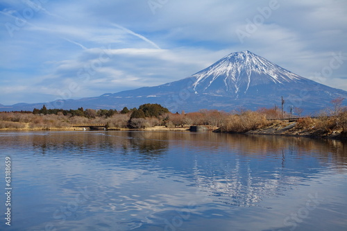 Mountain Fuji in winter season from Lake Tanuki