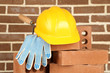 canvas print picture - New bricks and building tools on brick wall background
