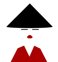 asian woamn wearing traditional conical hat and red robe