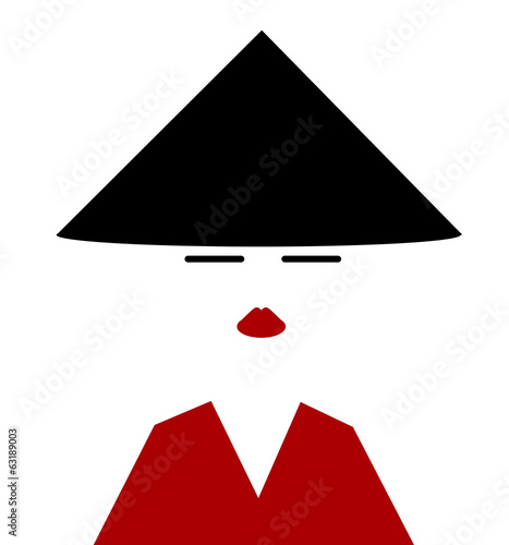 asian woamn wearing traditional conical hat and red robe - 63189003