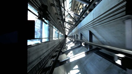 The shaft elevator of Auckland sky tower going down