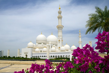 The United Arab Emirates. Abu Dhabi. White mosque.