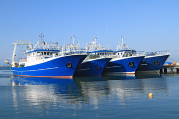 Fishing ships docked in port