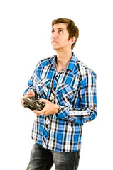 man playing with a rc transmitter